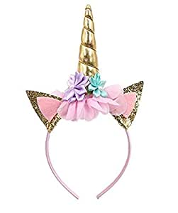 Party Propz Unicorn Headband Gold Horn Headband Ears Photo Props Girl Birthday Outfit Cheeks Gold Glitter Horn Headband Flowers Headwear Accessory for Party Decoration Cosplay Costume