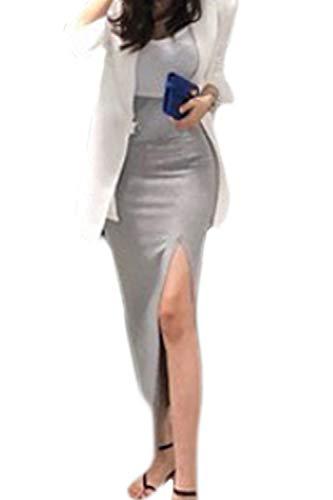 Zamtapary Femmes Fente Maxi Jupe Coton Casual Longue Solide Taille Haute Jupes Gris