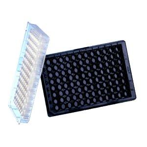 Greiner Bio-One 655209 Black Polypropylene Microplate, Flat Bottom, Chimney Style, 96 Well (Pack of 100)