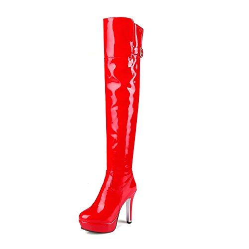 JIEEME Ladies Winter Zip Round Toe Stiletto Platform High Heels Black Red Over-The-Knee Women Boots Red 5p6vtlHtn