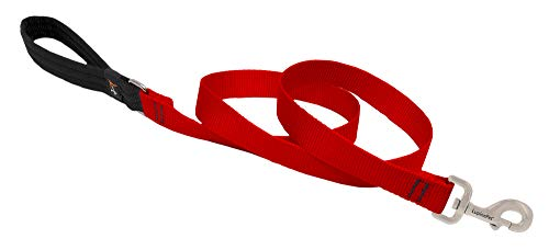 LupinePet Basics 1' Red 6-foot Padded Handle Leash for Medium and Larger Dogs
