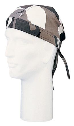City Headwrap Camouflage - Gray City Camouflage Do Rag Cotton Small Headwrap