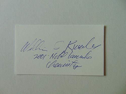 """""""Nobel Prize in Chemistry"""" William Knowles Signed 2X3.5 Card JG Autographs COA from Unknown"""