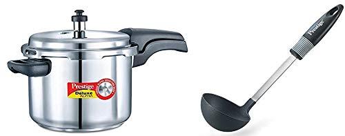 Prestige Deluxe Alpha Stainless Steel Pressure Cooker, 6.5 litres, Silver & Nylon Ladle, Black Combo