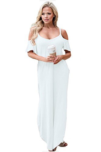 Long White Summer Dress - GOCHIC Women's Cold Shoulder Spaghetti Strap Casual Long Maxi Dress Beach Dress with Pockets White XL