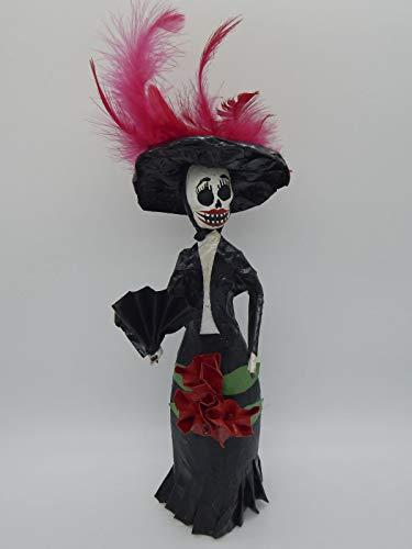 COLOR Y TRADICIÓN Mexican Catrina Doll Day of Dead Skeleton Paper Mache Dia de Los Muertos Skull Folk Art Halloween Decoration Frida Flowers # 1546]()