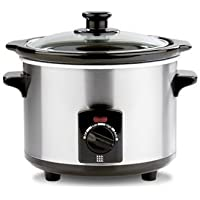 Lakeland Electric Slow Cooker, Brushed Chrome, 1.5L - Ideal for 1-2 Servings