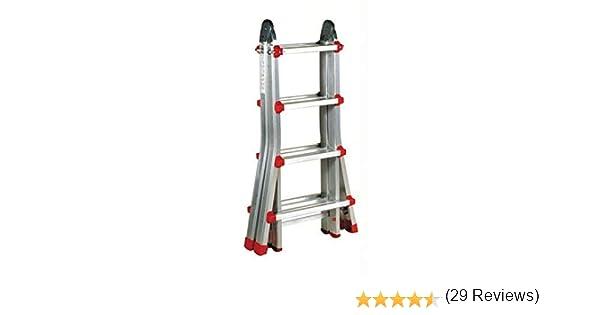 Escalera Articulada Telescópica Plegable 4+3 en 2 Tramos Profesional de Aluminio. Escada Articulada Telescópica (Hasta 14 Peldaños/Até 14 degraus): Amazon.es: Bricolaje y herramientas