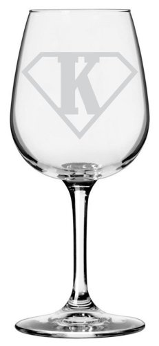 Superman Themed Etched All Purpose 12.75oz Libbey Wine Glass (Letter K) (Kirby Wine Glasses compare prices)