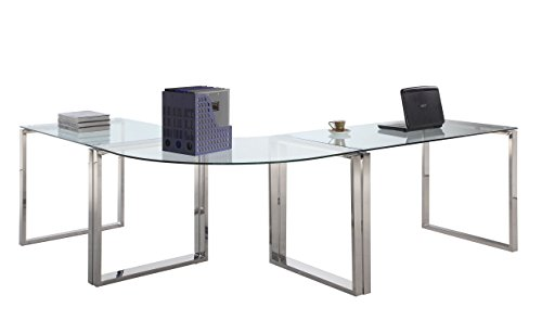 Milan 3 Piece Hadassah Clear/Chrome Computer Desk Set Chintaly Imports