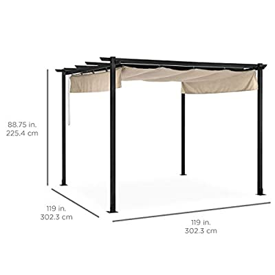 10x10FT Heavy Duty Outdoor Pergola With Weather-Resistant Retractable Canopy For Adjusting The Amount Of Sunlight Or Shade Great For Enjoying Meals And Drinks In Your Backyard With Family And Friends: Garden & Outdoor