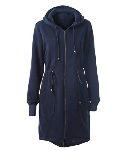 Navy Women Mid Warm Up Outwear Long Zip Jacket Autumn Howme blue Tunic Hooded Zq6dZP