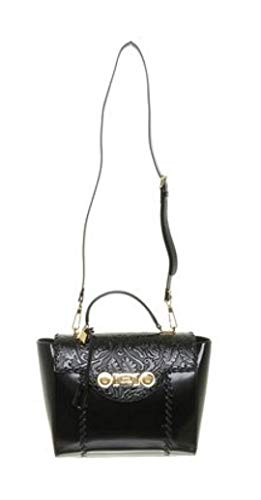 Black Leather DVRNX DP8E592 Versace Clutch Buckle Women's Medusa Patent D410C wn0qWAzI0