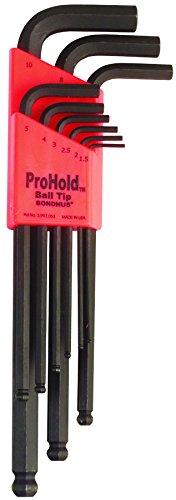 Bondhus 74999 Set of 9 Balldriver L-wrenches with ProHold Tip, sizes 1.5-10mm Bondhus 4 Mm Balldriver