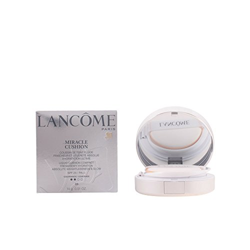 Lancome Liquid Foundation (Lancome Miracle Liquid Cushion Compact Foundation SPF 23, No. 03 Beige Peche, 0.51 Ounce)
