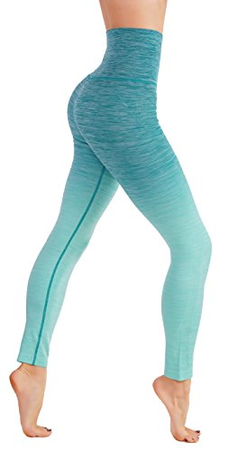 CodeFit Yoga Power Flex Dry-Fit Pants Workout Printed Leggings Ombre Print S-XXXL (Small/Medium, CF/YL701-AQU)