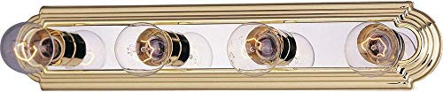 Maxim Lighting 7124PB/PC Four Light Vanity, Polished Brass/Chrome