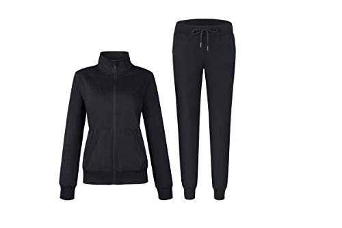 Women's Solid Cotton Sweatsuit Set, 2 Piece Sports Long Sleeve Sweatshirt and Sweatpants Outfit, Active Top and Jogger Long Pants,Running Wear Casual Zip up Jacket Tracksuits (Black, Small)
