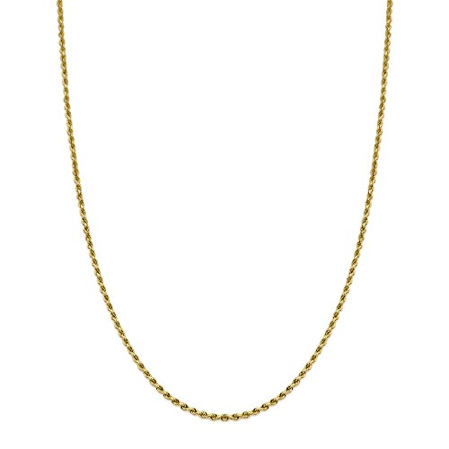 LoveBling 14K Yellow Gold 2mm 18'' Solid Diamond Cut Rope Chain Necklace with Lobster Lock by LOVEBLING (Image #1)