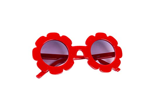 Toddler Kids Girl Flower Round Anti-UV Sunglasses, Colorful Eyewear Suit for Party Photography Outdoor Beach (Red)