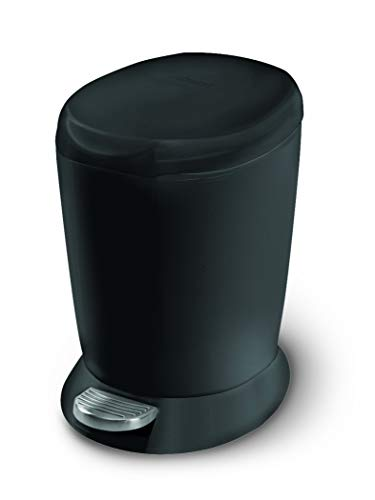 simplehuman 6 Liter / 1.6 Gallon Compact Plastic Round Bathroom Step Trash Can, Black Plastic