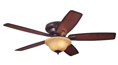 Westinghouse 7247000 Sumter Two-Light Reversible Five-Blade Indoor Ceiling Fan, 52-Inch, Classic Bronze Finish with Amber Alabaster Glass Bowl Classic Fan Blades