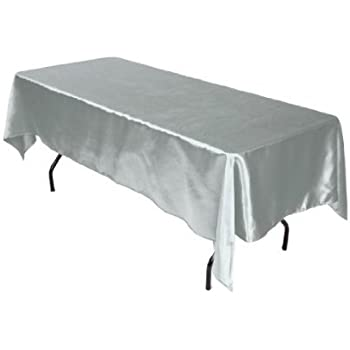 Awesome LinenTablecloth 60 X 102 Inch Rectangular Satin Tablecloth Silver