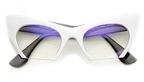 AStyles - Semi Rimless Cut Off Bottom Razor Clear Lens Cat Eye Glasses (White Black Tample, - 50 Lenses Off