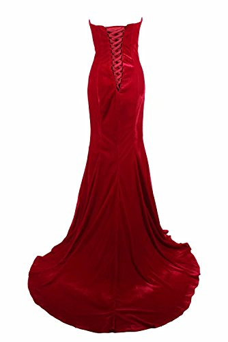 0 Gowns Long Party Red Lace Evening Dresses up Back Size for Mermaid Women Wedding Bridesmaid q6HEXE