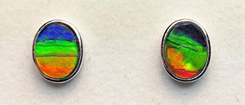 Ammolite 925 Sterling Silver 9x7mm Oval Post Earrings
