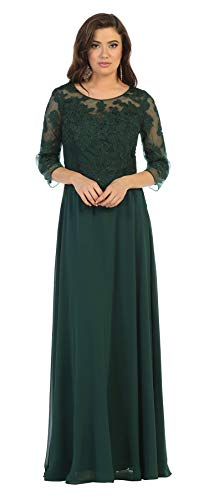 Formal Dress Shops Inc FDS1637 Mother of The Bride Embroidered Gown (Hunter Green, XL) (Hunter Green Mother Of The Bride Dresses)
