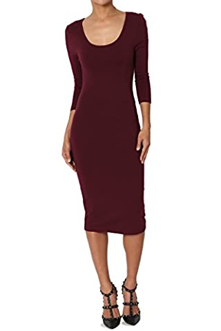 TheMogan Junior's 3/4 Sleeve Scoop Neck Stretchy Cotton Midi Dress Burgundy L (Midi Cotton Dress)