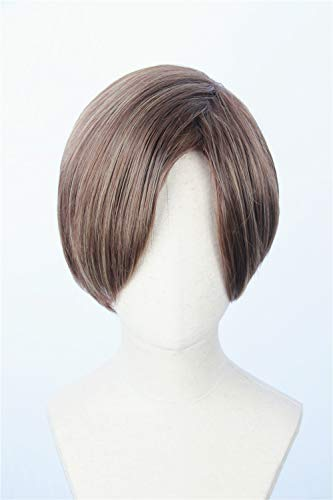 Cosplaywigscom: : Leon Wig Inspired of Movie Resident Evil Short Brown Straight highlights Thick Hair for Adults and Teens -