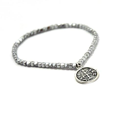 MIZZE Jewelry Magnetic Hematite Winner's Choice Charm Bracelet with King Solomon Silver Amulet for Women - Energy Health Jewelry Bracelet Adjustable Size 6.5