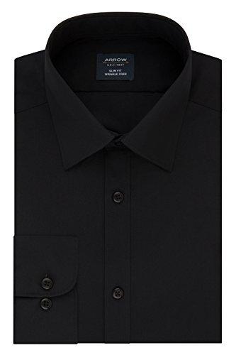 Arrow Men's Slim Fit Dress Shirt Poplin, deep Black, 14-14.5 Neck 32-33 Sleeve