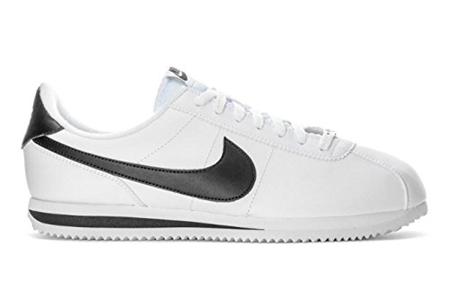 Nike Mens Cortez Basic Leather Casual Shoe White/Black/Metallic Silver