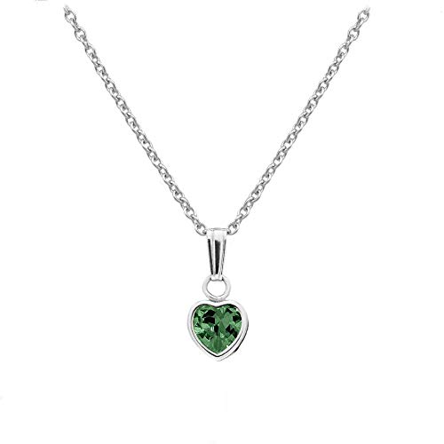 Green May Pendant Birthstone (Little Girl's Sterling Silver Simulated May Birthstone Heart Pendant Necklace (13 in))