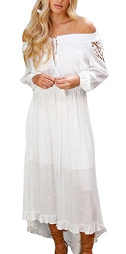 Jaycargogo Des Femmes Confortable De L'épaule Couture Pure Couleur Haute Bas Robes Tunique Blanche
