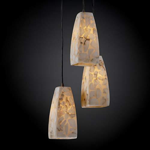 Justice Design Group ALR-8864-65-DBRZ Alabaster Rocks! Collection 3-Light Cluster Pendant, Small