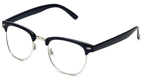 Calabria Vintage Clubmaster Designer Reading Glasses, Black