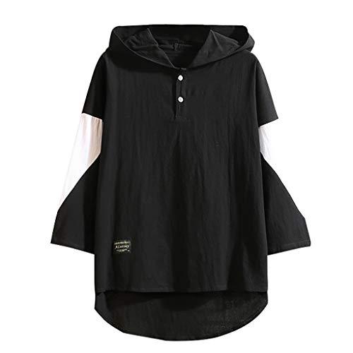 Hoodie Mens Casual Patchwork Cotton Linen Three Quarter Sleeve T-Shirt Tops Black