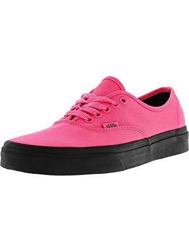 (Vans Authentic Black Outsole Fashion Sneakers,Neon Pink/Black, 4.5 Men/6 Women)