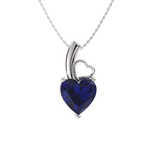 Diamondere Natural and Certified Heart Cut Blue Sapphire Solitaire Petite Necklace in 14k White Gold | 0.42 Carat Pendant with Chain