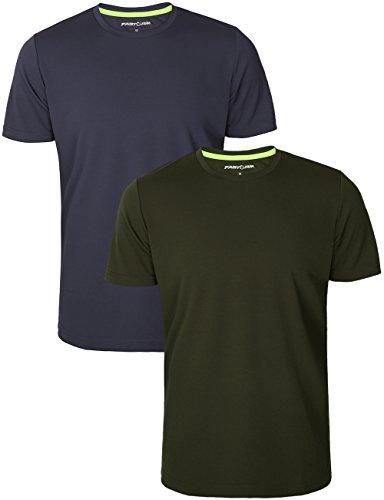 Fastorm Men's 2-Pack Athletic T Shirt Quick Dry Tagless Moisture Wick Sport Tee Grey Green 2XL