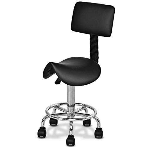 Seleq Adjustable Black PU Leather Rolling Salon Stool Saddle Style with -