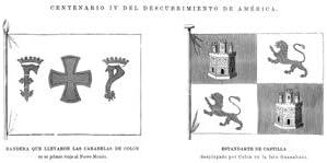 Grabado antiguo (1892) - Xilografía - Bandera Que Llevaron La Carabelas De Colón Y Estandarte De Castilla (9x22), Desconocido: Amazon.es: Hogar