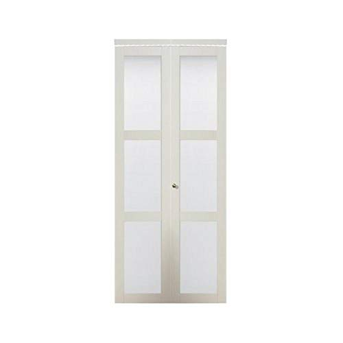 Bi-Fold Glass Sliding Door 24 Inch Beige Contemporary Charm NEW