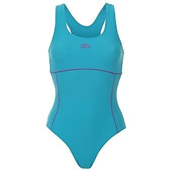 462cb157853 Slazenger Racer Back Swimsuit Ladies Blue Purple 12 (M)  Misc.    Amazon.co.uk  Clothing