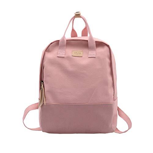 (School Bag for Girls Bookbag Multi-Pockets Large Capacity Rucksack Ladies Canvas Wear-Resistant Color Art Shoulder Bag Pink)