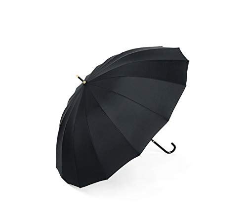Solid Color Umbrella Strong Windproof Semi Automatic Long Umbrellas Leather Handle Large Busis Umbrellas,Black